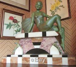 Statue Art Deco Femme Sig Balleste Statuette Baigneuse Fonte D'art Patine Bronze
