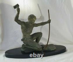 Statue HERVOR fonte d'art patine bronze ART DÉCO FORGERON sculpture