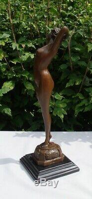 Statue Pin-up Sexy Style Art Deco Style Art Nouveau Bronze massif Signe