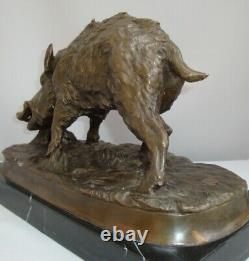 Statue Sanglier Animalier Chasse Style Art Deco Bronze massif Signe