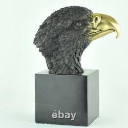Statue Sculpture Aigle Oiseau Animalier Style Art Deco Bronze massif Signe