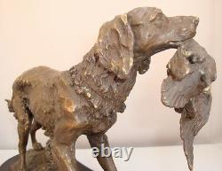 Statue Sculpture Chien Chasse Animalier Style Art Deco Style Art Nouveau Bronze