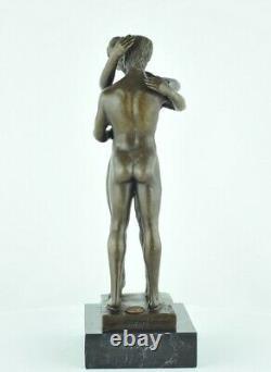 Statue Sculpture Couple nu Sexy Style Art Deco Bronze massif Signe