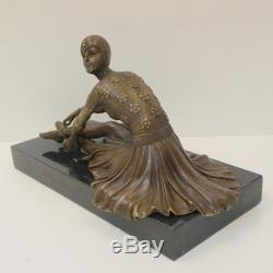 Statue Sculpture Danseuse Charleston Style Art Deco Bronze massif Signe