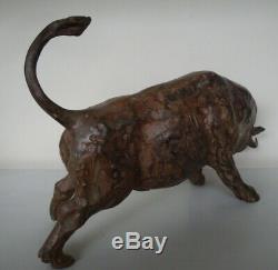 Statue Taureau Animalier Corrida Tauromachie Bronze massif Signe