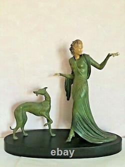 Statue en bronze Art-Déco, Chryséléphantine, signé Menneville, 1930