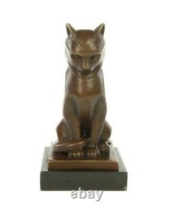 Statue en bronze chat assis de style art déco 17 cm