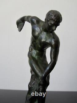Statuette Art Deco Max Le Verrier Le Faguays Discobolle en bronze