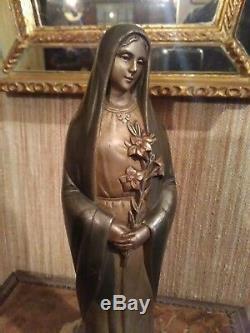 Statuette Vierge en Bronze signée Jean LORMIER Art Déco
