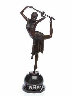 Statuette de danseuse avec cerceau style Art déco bronze 54 cm