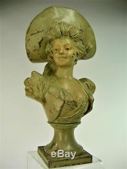 Superb Statue Art Nouveau Sculpture Buste Jeune Fille 1900 Van Der Straeten Deco