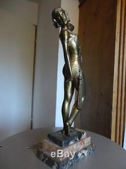 Superbe Ancienne Statuette Art Deco 1920 Bronze doré signe. Danseuse