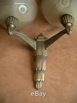 Superbe Applique Art Déco En Bronze Argent