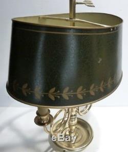 Superbe LAMPE BOUILLOTTE en Bronze et Abat-jour en Tôle Décor Cors de Chasse