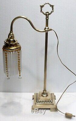Superbe LAMPE DE BUREAU Télescopique début XXème bronze tulipe à perles
