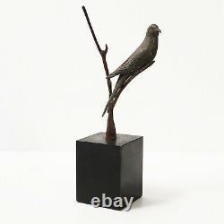 Superbe Oiseau Sur Branche En Bronze Sur Socle Marbre Art Deco 1920 1930