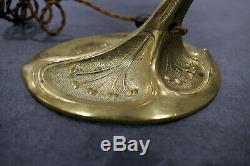 Superbe Pied De Lampe En Bronze Art Deco/nouveau Pour Tulipe Daum Muller Frères
