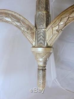 Superbe ancien Lustre Plafonnier Art Déco 1930 Tulipe Monture Bronze nickelé 3fx