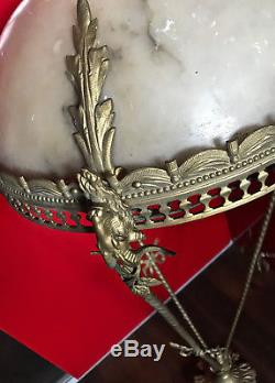 Superbe ancien grand lustre baroque art deco tete de belier bronze albatre XIX
