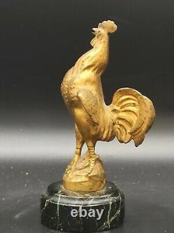 Superbe coq en bronze doré signé FRECOURT Maurice art déco