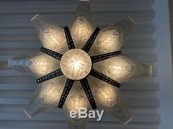 Superbe lustre Art-Déco à 8 plaques