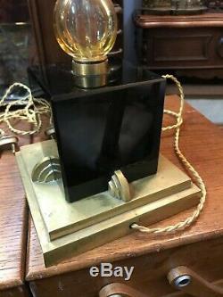 Superbe pied de lampe art déco Onyx Noir et Bronze époque 1930