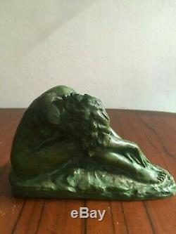 Superbe sculpture bronze femme art déco signée