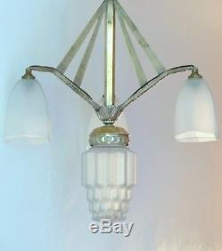 Superbe suspension plafonnier lustre Art Déco 1930 Bronze Skyscraper Chandelier
