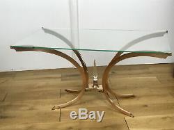 Table Basse Ancienne Des Années 70 Pietement En Bronze Dessus Verre