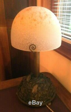 Unique Lampe Art-déco Bronze Signée Carion Dôme Pte De Verre Signée Schneider