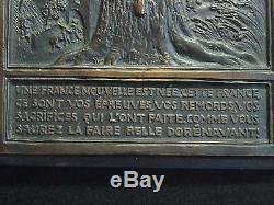 WW2 PLAQUE BRONZE HENRI DROPSY LE MARECHAL PETAIN A St VALERY EN CAUX 42,5cm